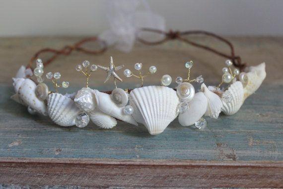 Beach Wedding Tiara Seashell Starfish Peals Crystals & by deLoop