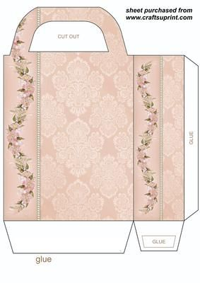 Peach floral gift bag on Craftsuprint designed by Stephen Poore -