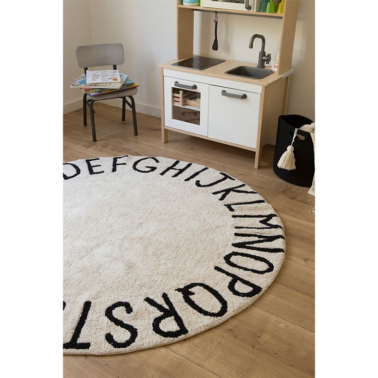 Small Abc Rug: Round ABC Washable Rug - Natural & Black