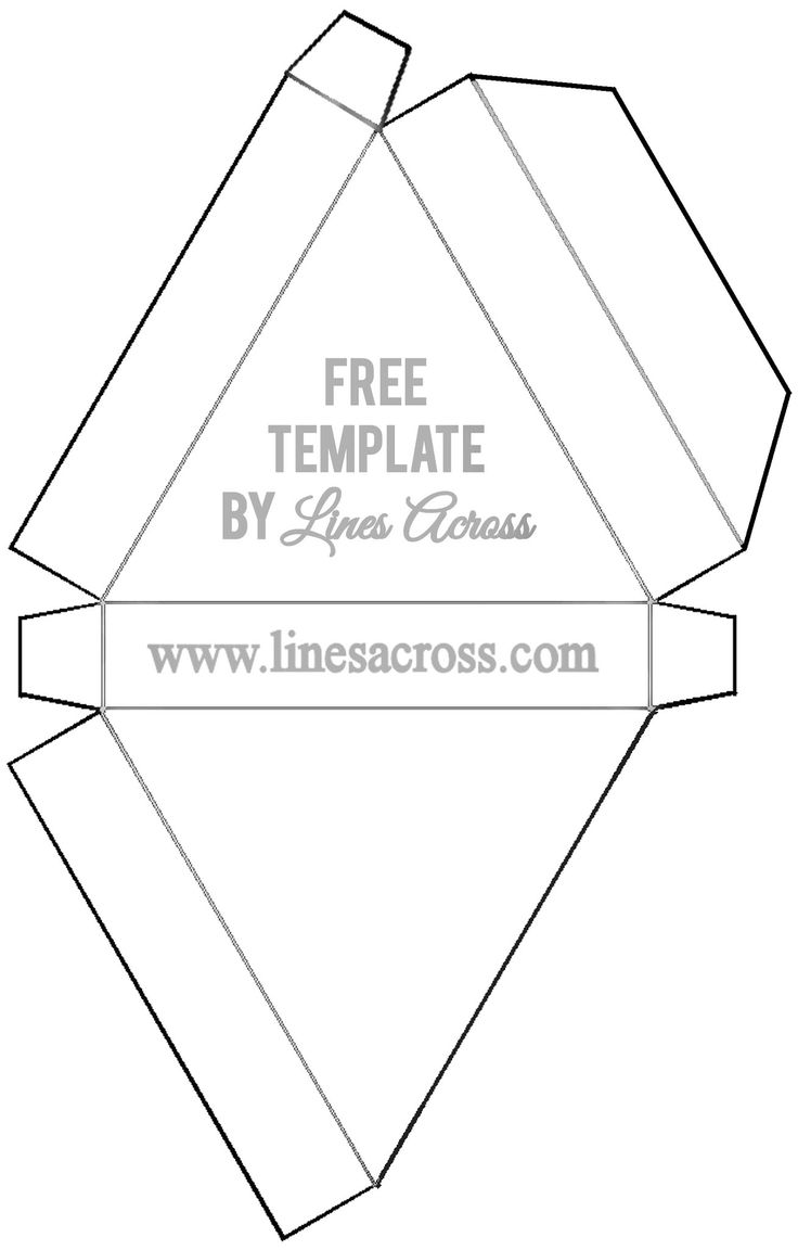 Foldable triangle gift box template printable for Triangle packaging template