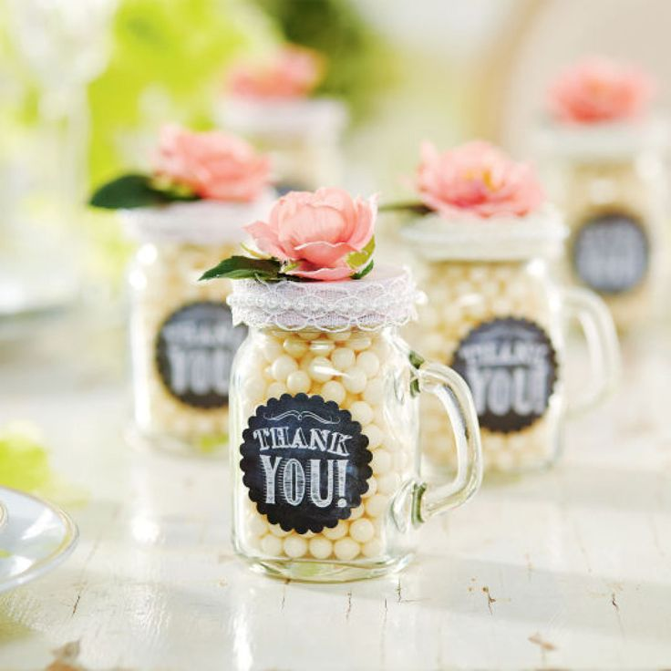 Mini Mason Jar Mug Favors http://www.fillmorecontainer.com/4-oz-Small-Mason-Jars-with-Handles-Mini-Mugs-P6114.aspx