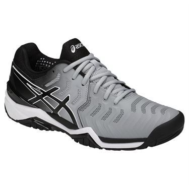 Asics Gel Resolution 7 Men's Tennis Shoe, in a new grey and black colorway,