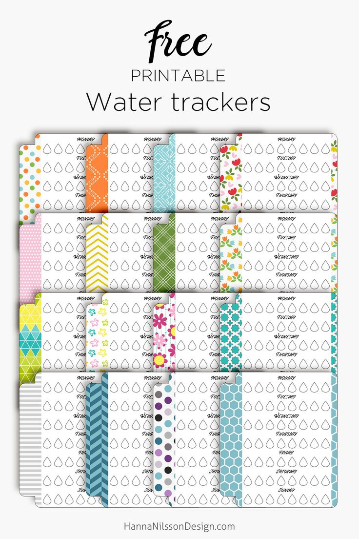 Make sure you keep hydrated this summer with these printable water intake trackers in super cute colors for you planner.