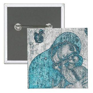 Virgin Mary Baby Jesus Angel Portrait Vintage Blue Pinback Button
