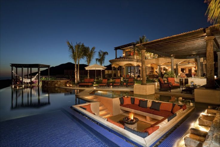 Fire Pit Lounge In Middle Of Pool Homes House Luxury Design Custom Backyard Pools