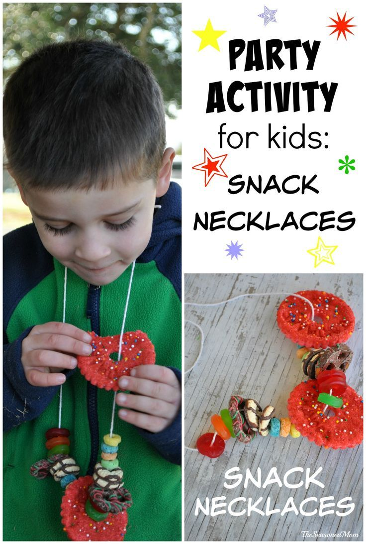 Party Activity for Kids: Snack Necklaces -- great way to entertain kids for New Year's Eve, birthday parties, and play dates!