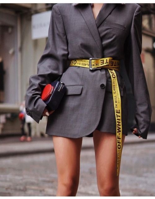edgy street style inspiration for young women, off white belt makes a chic  street style outfit for women