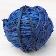 Jedwabne pasmo sari kobaltowe [3m]