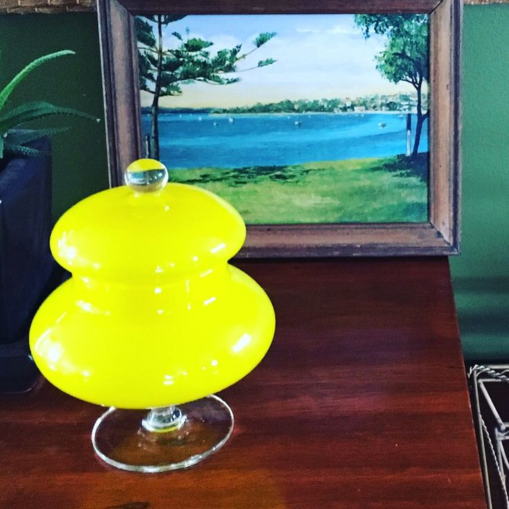 Yellow glass jar with lid. Beautiful vintage. $35 plus postage X