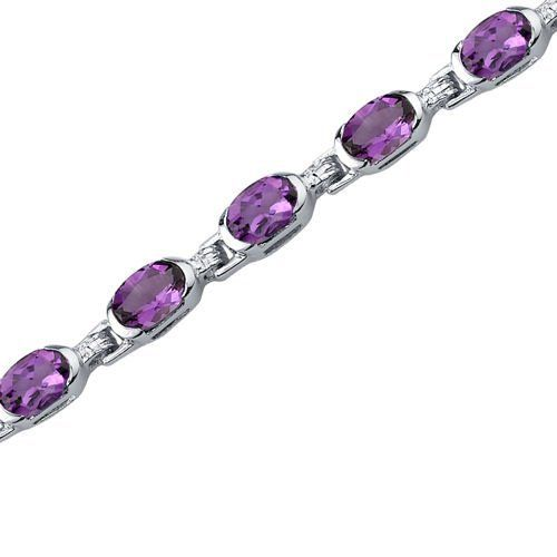 Exceptionally Stunning: 6.75 carats total weight Oval Shape Amethyst Gemstone Bracelet in Sterling Silver Rhodium Finish Peora. Save 68 Off!. $74.99