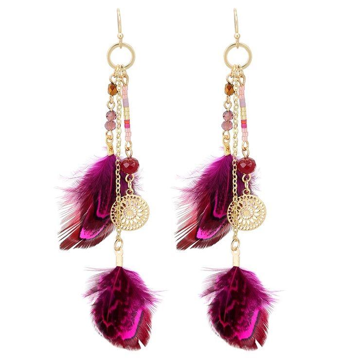 'YehWang' Ibiza/boho Oorbellen met roze veren en kralen