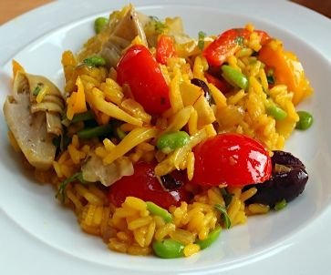 Low FODMAP Recipe - Vegetable 'paella':  http://www.ibssano.com/low_fodmap_recipe_veg_paella.html