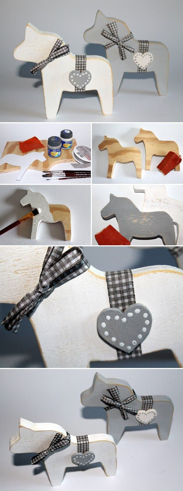 DIY Dalapferd aus Holz (Laubsägearbeit) + Aneitung: DIY, Basteln, Selbermachen, Laubsäge, Laubsägearbeit, Holzsäge, Holzsägearbeit, Dekupiersäge, Deko, Dekoration, Dekorationisee, grau und weiß, Geschenk, Geschenkidee, Shabby Chic, Vintage, Antik, arbeiten mit Holz....