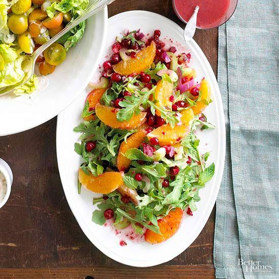 We added a refreshing kick of mint and ginger to an arugula salad, then topped it with chopped fresh cranberries. You can prepare the salad up to 2 days in advance. When you're ready to eat, all you need to do is add the dressing.