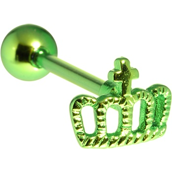 Green Crown Anodized Titanium Barbell $7.99 #prom #queen #bodycandy #piercing