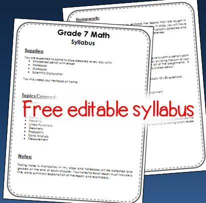 Edit this free syllabus to make it your own!  Blog post with ideas of what to include on a middle school math syllabus