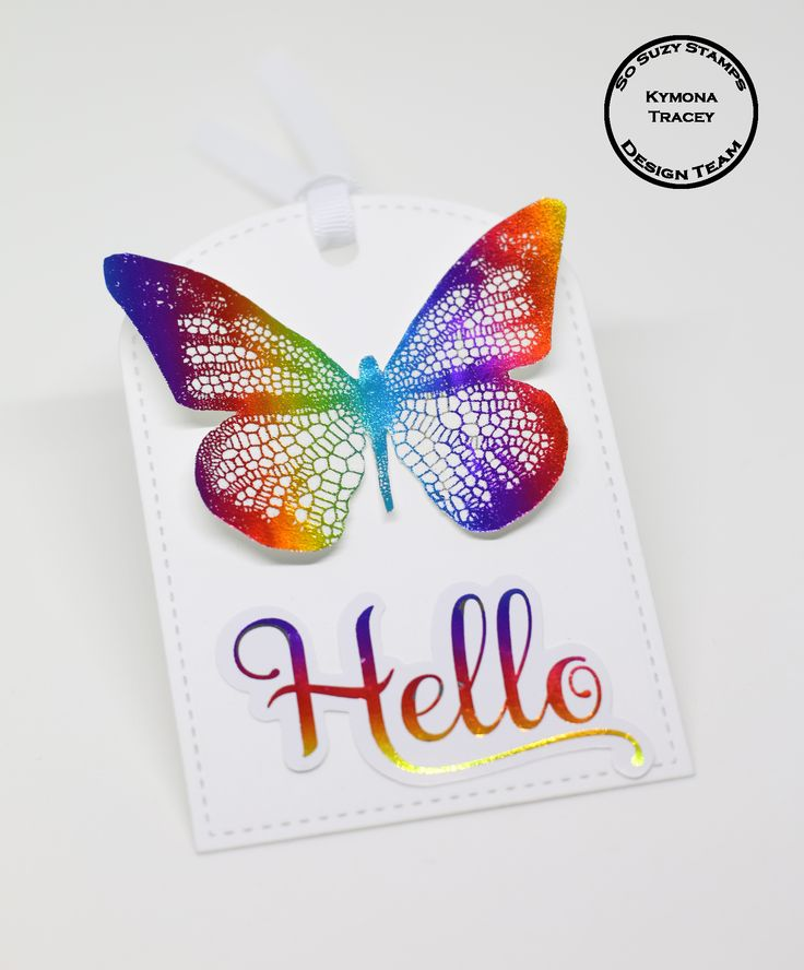 Foiled Butterfly was created with So Suzy Stamps Fancy Butterfly, Anna Griffin Minc and Rainbow Deco Foil.
