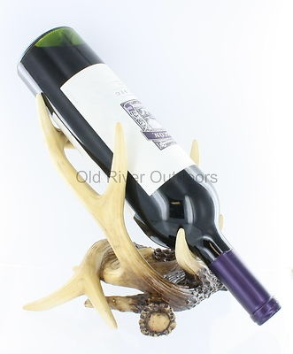 YES!    Beautiful Antler Wine Bottle Holder Buck Deer Cabin Lodge Rustic Hunting Decor | eBay