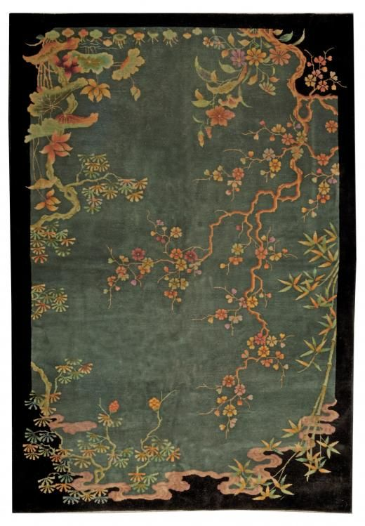 A Chinese Art Deco Rug old style flowers, smoke, bamboo...