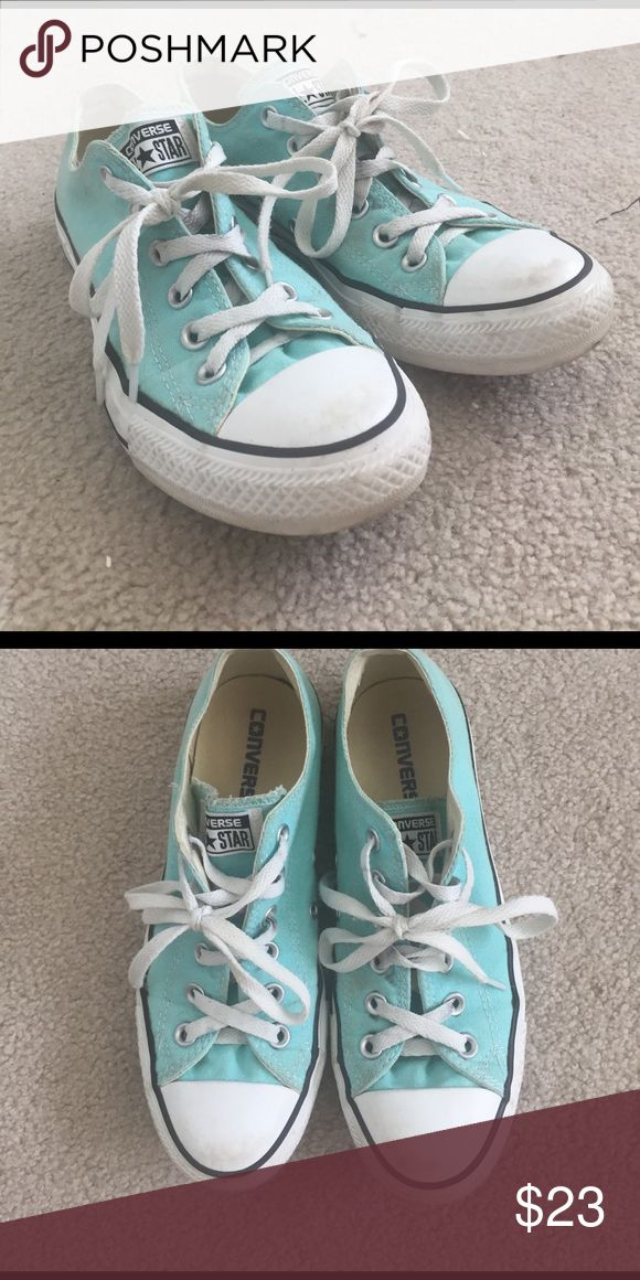 Turquoise Converse Women's size 6 light turquoise converse. These are a little worn, but with a quick wash they could be good as new. I really love the color! Converse Shoes