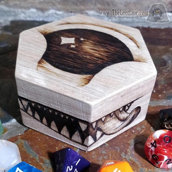 Look at those eyes, I mean eye, how could you say no? The smaller, cuter and more squee inducing love child of a beholder and a mimic. Warding would-be orcs and undesirables off of your treasures with cuteness defense, but be warned, without proper feeding it could turn mean!  Shaped and