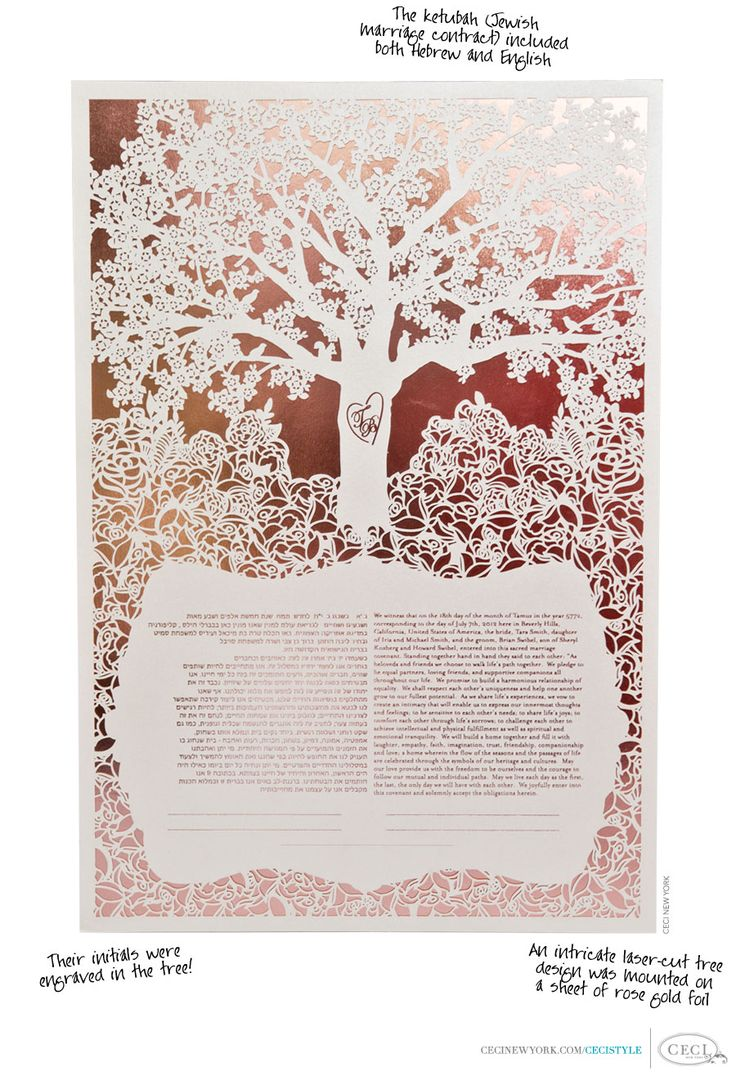 The ketubah (Jewish marriage contract) included both Hebrew and English. Ther initials were engraved in the tree! An intricate laser-cut tree design was mounted on a sheet of rose gold foil.