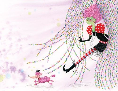 Marieke Nelissen Illustration - marieke nelissen, marieke, nelissen, digital, paint, water colour,  painted, traditional, commercial, trade, picture book, fiction, educational, potion, magic, spells, young reader, colour, colourful YA, quirky, funny, humour, witch, animal, pet, dog, poodle, pink, beads, boots, hair, curly hair, pattern, grumpy, scary