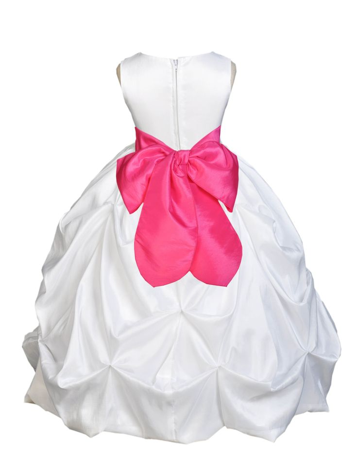 White Formal Bridesmaid Beauty Pageant Special Occasions Bubble Taffeta Flower Girl Dress 301s