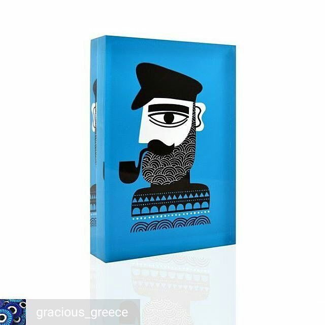 #repost from @gracious_greece -  #greek #fisherman #design object▪#art #instaartwork #instaart #handprint #silkscreen  on clear #plexiglass ▪#graciousgreece #greekdesigners #souvenirs #madeingreece 🇬🇷 #graphicdesign by @nearchos_polkadot ▪visit us at @greekbrandnew #tradeshow ▪#giftideas #gifts