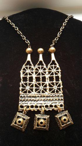 Pentti-Sarpaneva-Finland-Vintage-Modernist-1970s-Bronze-Lace-Pitsi-Necklace