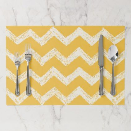 Classic mustard yellow chevron paper placemat - classic gifts gift ideas diy custom unique