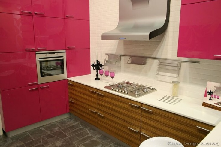 Glossy Magenta Cabinetry