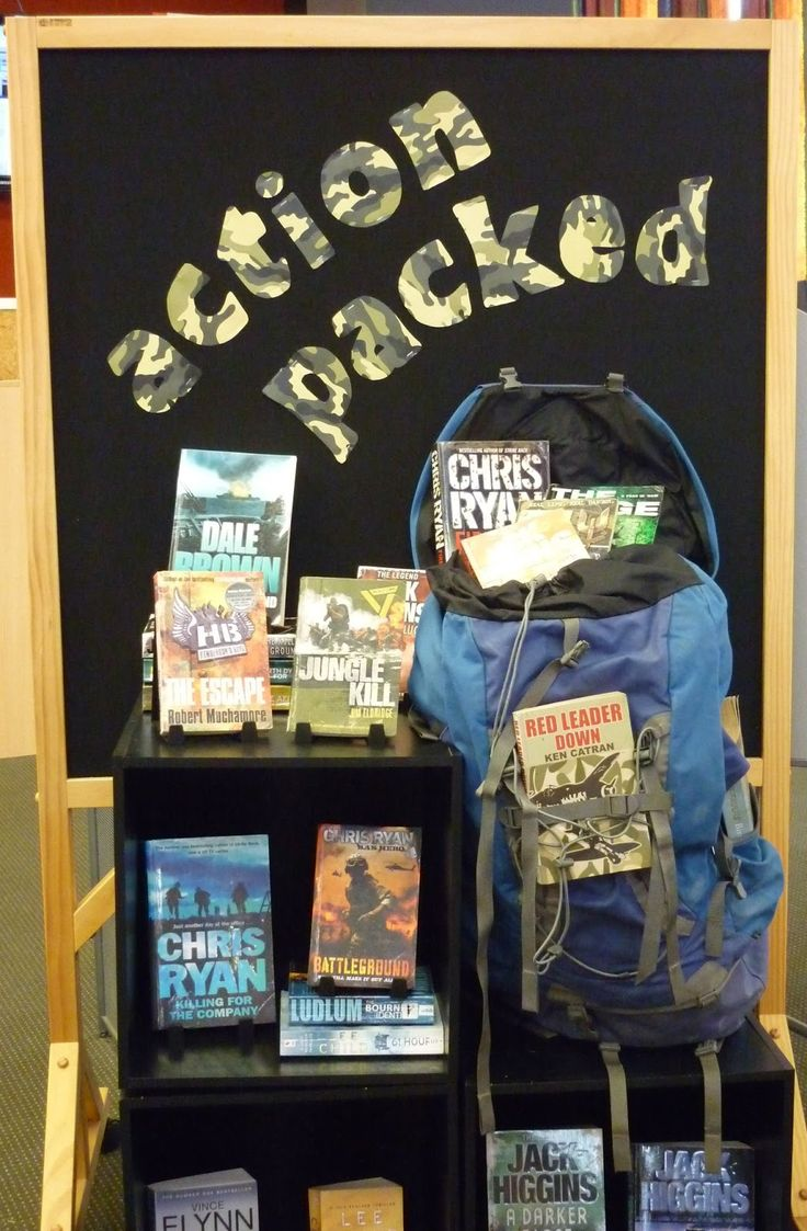 Library Displays: Action Packed - could pair with a backpack giveaway!