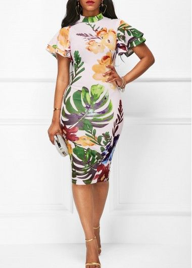 White Printed High Neck Short Sleeve Sheath Dress on sale only US$34.42 now, buy cheap White Printed High Neck Short Sleeve Sheath Dress at liligal.com