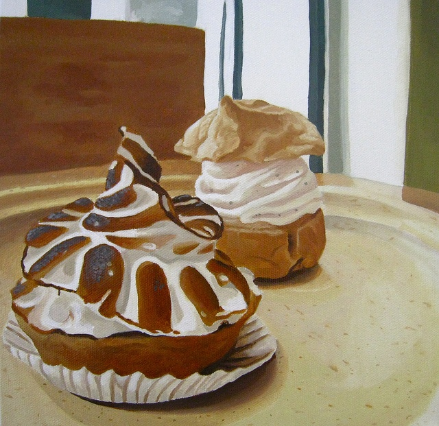 """Lemon Tartlet and Mini Cream Puff from the Whole Foods Headquarters Bakery""  10x10""  oil on canvas  painted by Kaci Beeler"