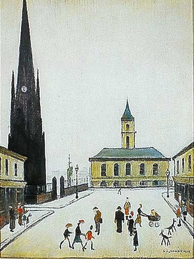 The Town Hall and St Hilda's in Middlehaven, Middlesbrough by Lowry. Painted from North Street looking South.