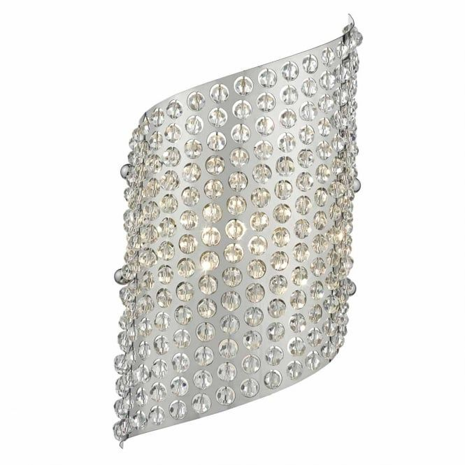A decorative polished chrome wall light with crystal bead detail. Great for adding sparkle to any modern lounge, bedroom or hallway. This light is double insulated for safe use without need of an earth wire. This light is individually switched by a pull cord.