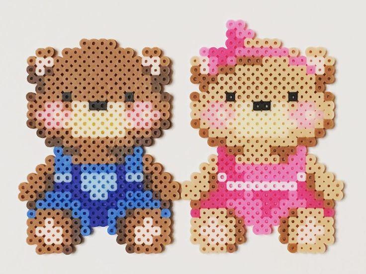 Teddies perler beads by hexinyu719