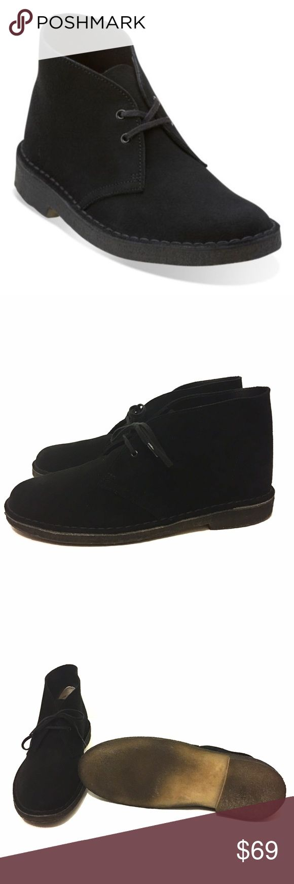 Clarks Originals Desert Boots Women's Black sz 11 Style # 73898 - Women's US 11 M - Solid Black Suede - Lightly worn a couple of times - no stains, no foot odor, no foot prints. Excellent condition. Clarks Shoes Ankle Boots & Booties