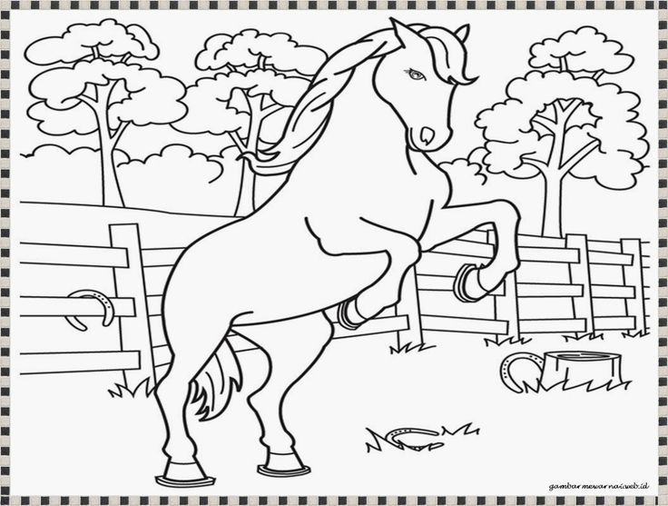 Gambar Mewarnai Kuda Model Rumah
