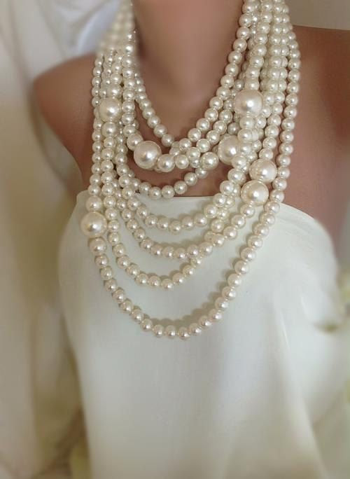 Bold chunky multi strand statement   pearl necklace brides , bridesmaids gifts