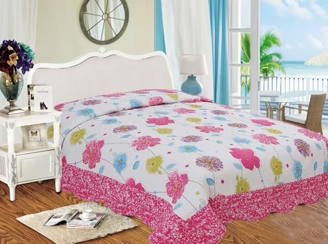 New Pink 100% Cotton Girls Quilt Patchwork Flower Printed Children Bed Cover Soft Air-conditioner Quilting for Kids 140x220cm