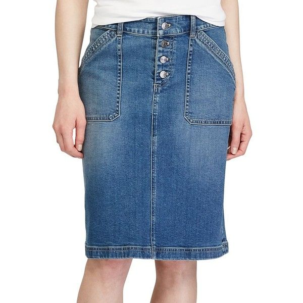 Women's Chaps Stretch Jean Skirt ($44) ❤ liked on Polyvore featuring skirts, blue, stretchy pencil skirt, pencil skirts, blue skirt, stretchy skirts and stretch skirts