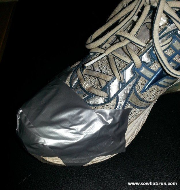 Keep your feet dry while running in the rain or snow by duct taping the tops to prevent water from getting in. (I tried this during my last 5k. It worked great!!)