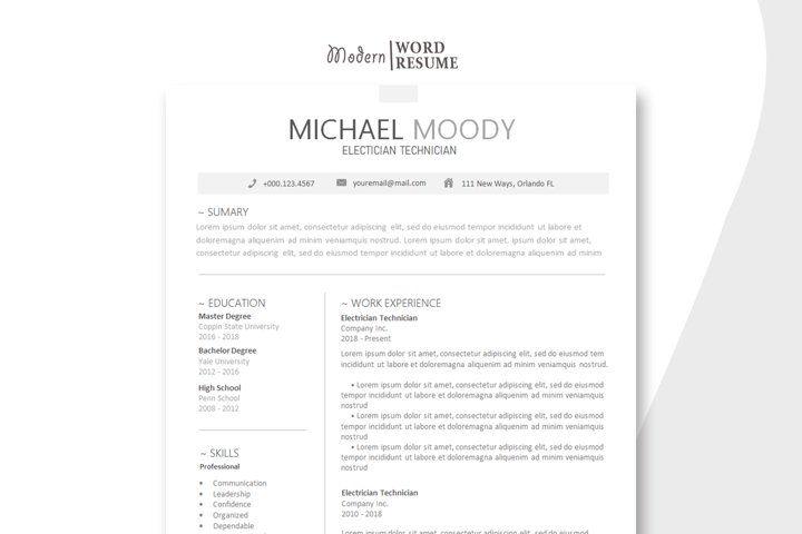 Electrician Technician Resume Template 728205 Resume Templates Design Bundles Minimalist Resume Template Resume Template Resume Templates