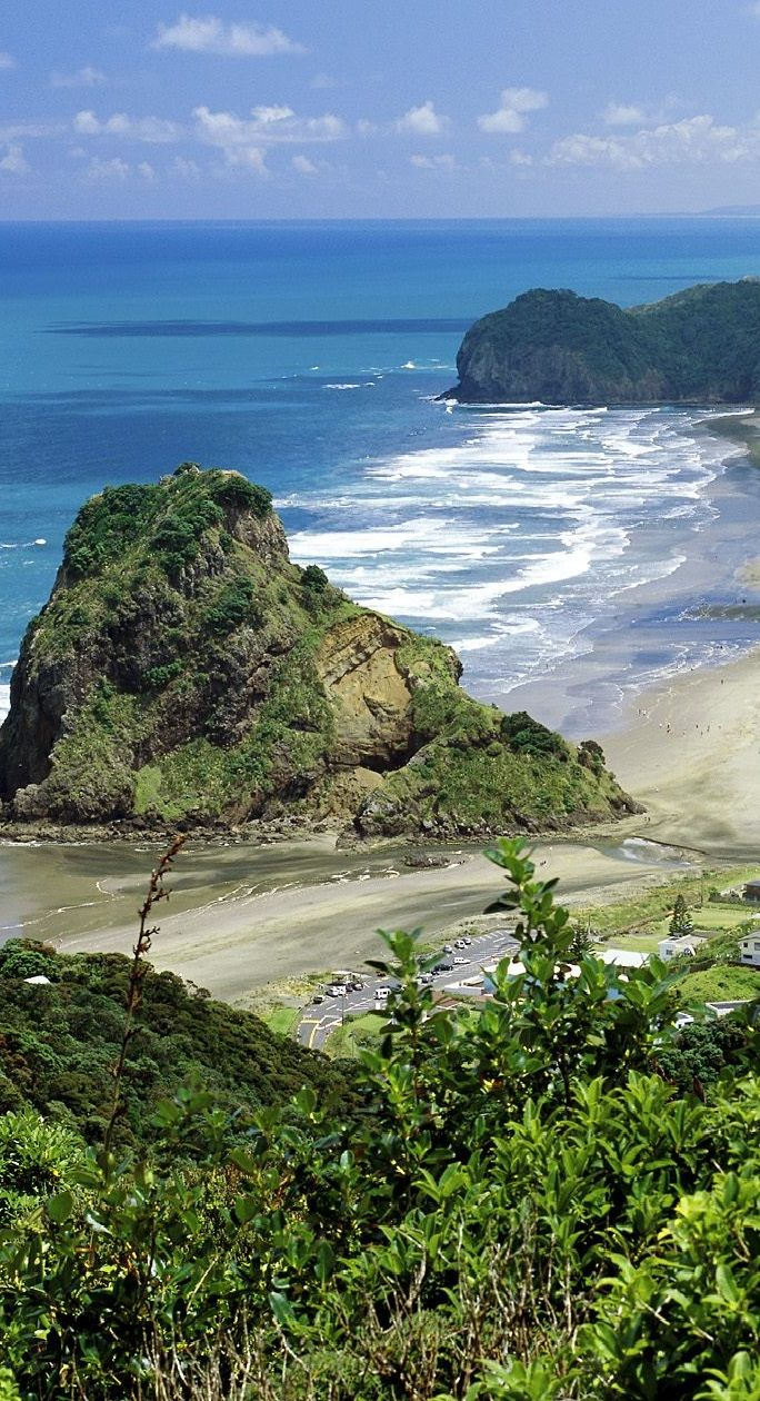 """Piha Beach, New Zealand ...I've climbed this """"Lion's Head"""" and it was an amazing view! ~janie•was•here~"""