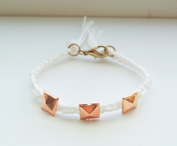 Rose Gold Studded Bracelet  Braided White Cord  Pyramid by SKRIN, $20.00