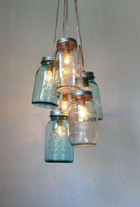 Ocean Sapphire Mason Jar Chandelier  Mason Jar Light  by BootsNGus, $200.00Ball Jars, Mason Jar Lighting, Ideas, Masons, Lights Fixtures, Mason Jars Lights, Jar Lights, Mason Jars Chandeliers, Mason Jar Chandelier