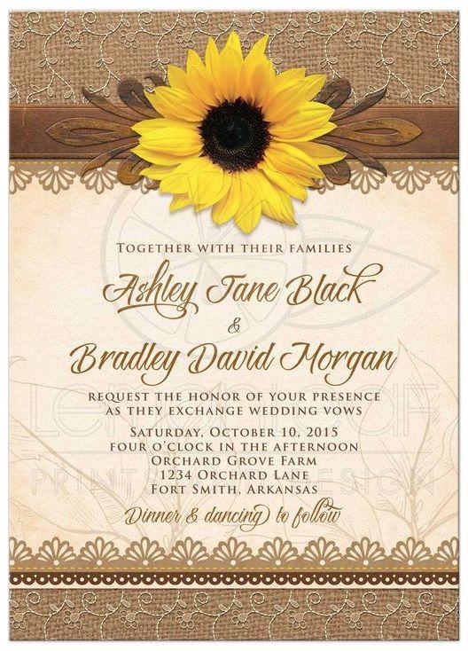 Rustic sunflower wedding invitation from @lemonleafprints