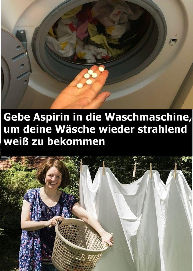 Gebe Aspirin in die Waschmaschine, um deine Wäsche wieder strahlend weiß zu be…